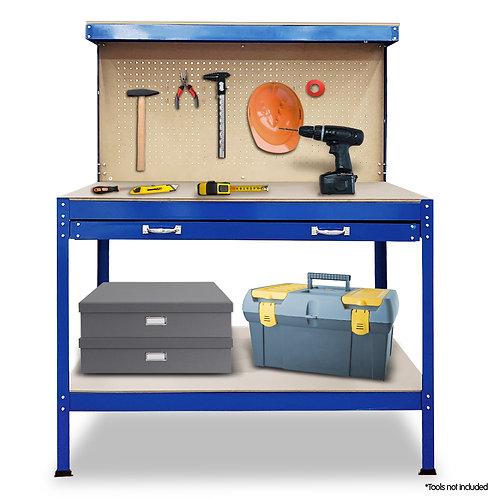 2-Layered Work Bench Garage Storage Table Tool Shop Shelf Blue