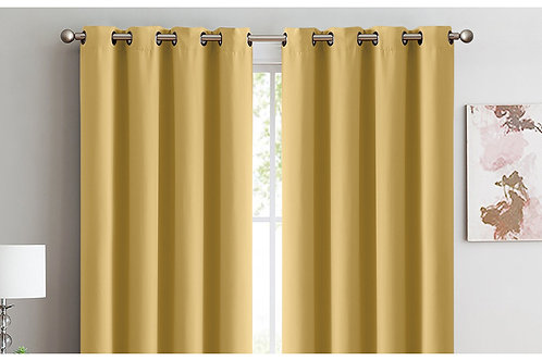 2x 100% Blockout Curtains Panels 3 Layers Eyelet Mustard 180x230cm