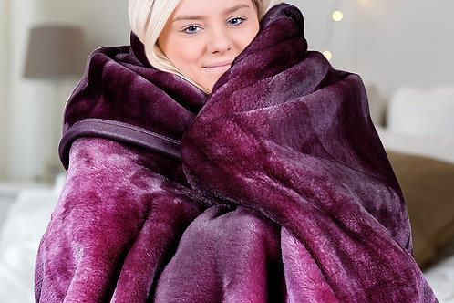 Laura Hill 600GSM Large Double-Sided Faux Mink Blanket - Purple