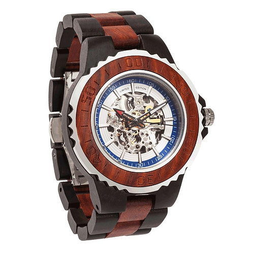 Men's Genuine Automatic Rose Ebony Wooden Watches No Battery  Require