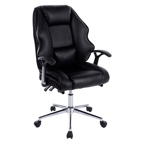 Faux Leather High Back Modern Reclining Executive Office Chair Black