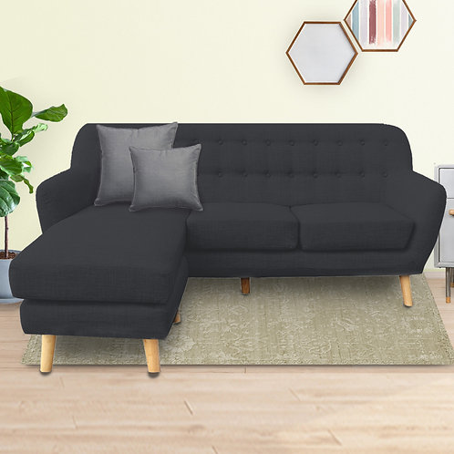 Linen Corner Wooden Sofa Couch Lounge L-shaped with Chaise - Dark Grey