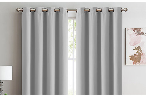 2x 100% Blockout Curtains Panels 3 Layers Eyelet Grey 240x230cm