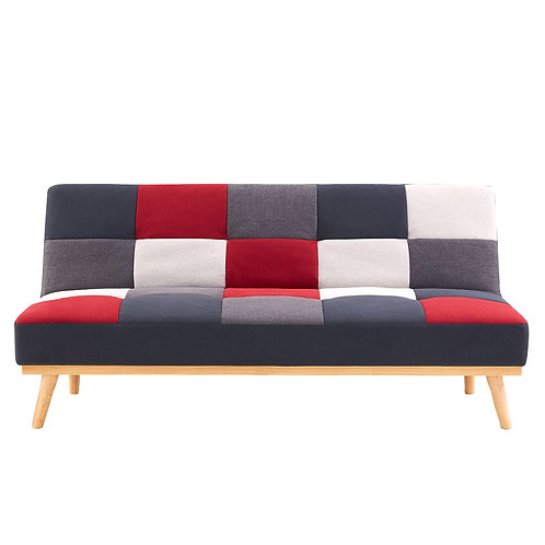 3 Seater Modular Linen Fabric Wood Sofa Bed Couch - Multi-colour