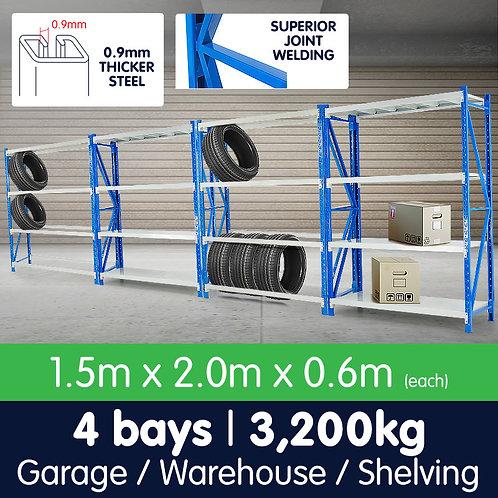 4 Bay Garage Storage Steel Rack Shelving 6.0m 800kg