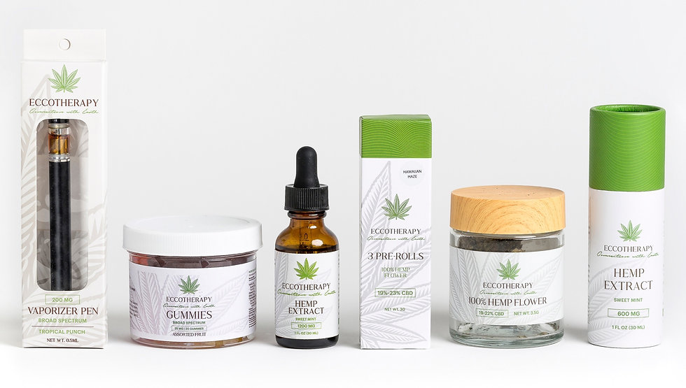 eccotherapy cbd hemp products. eccotherapy has a range of cbd products from vaporizer pens to gummies and extract! delta-8 also available!
