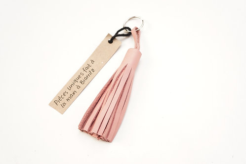 Blush Pink Keychain / Leather Tassel Keyring / Waste Leather