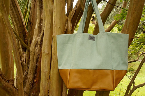 Bronze & Turquoise Leather Tote