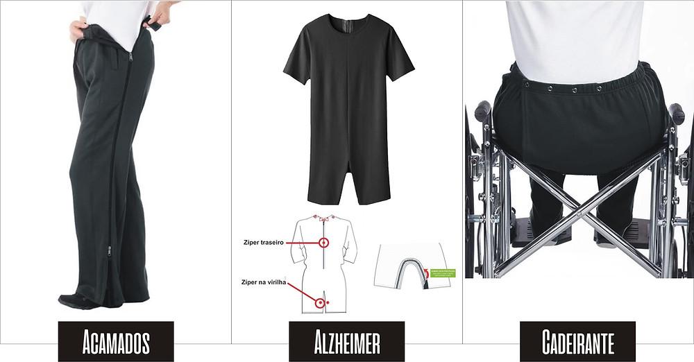 Roupas adaptadas para pessoas acamadas, pessoas com Alzheimer e demências, roupas adaptadas para cadeirantes.