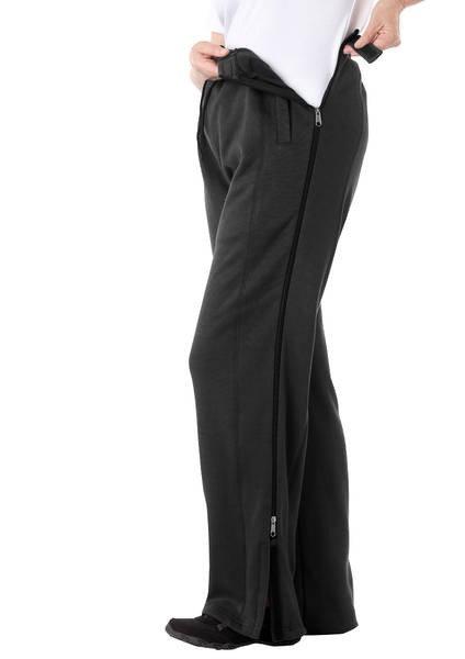 Calça adaptada com abertura em toda extensão lateral na perna para pacientes acamados