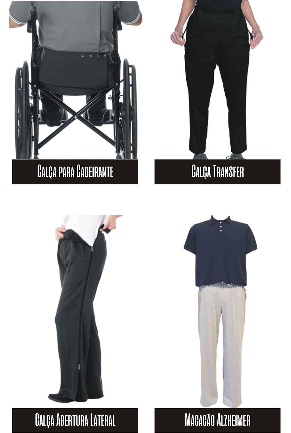 Calça para cadeirantes, Calça transfer para auxiliar a transferência de uma pessoa na cadeiras de rodas, calça com abertura lateral para pacientes acamados, macacão para pessoas com alzheimer.