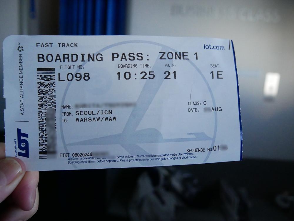 LOTポーランド航空 搭乗券
