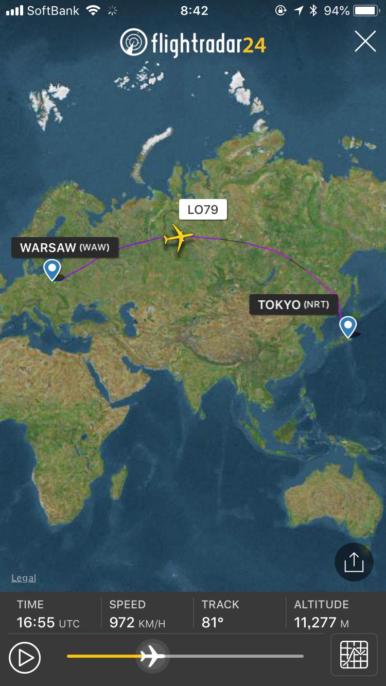 LOTポーランド航空 FlightRader24