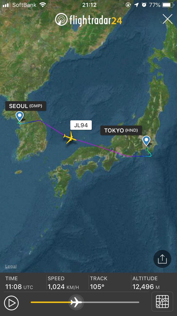 JAL 金浦ー羽田 FlightRader24