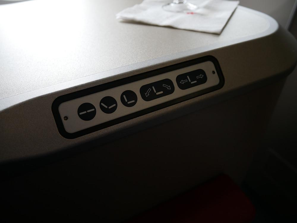 香港航空 A350 ビジネスクラス 座席コントロール