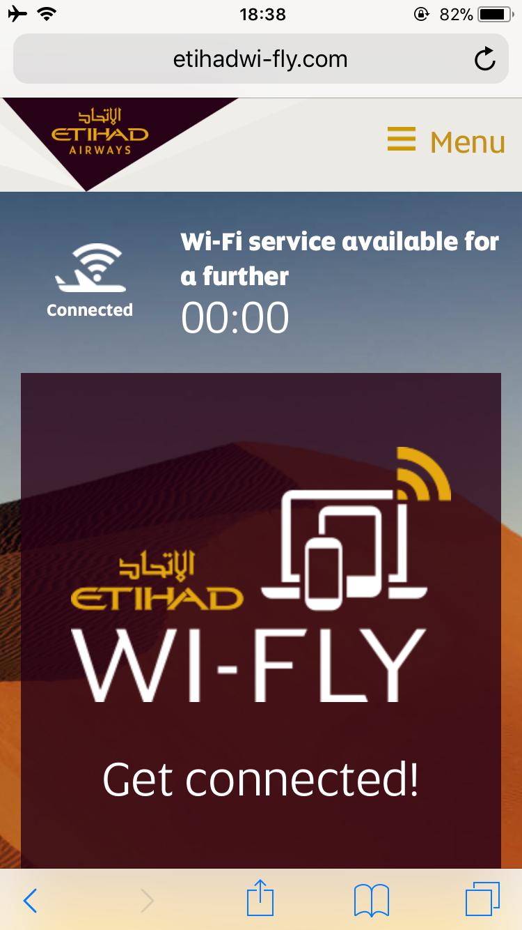 エティハド航空 ファーストクラス 機内Wi-Fi