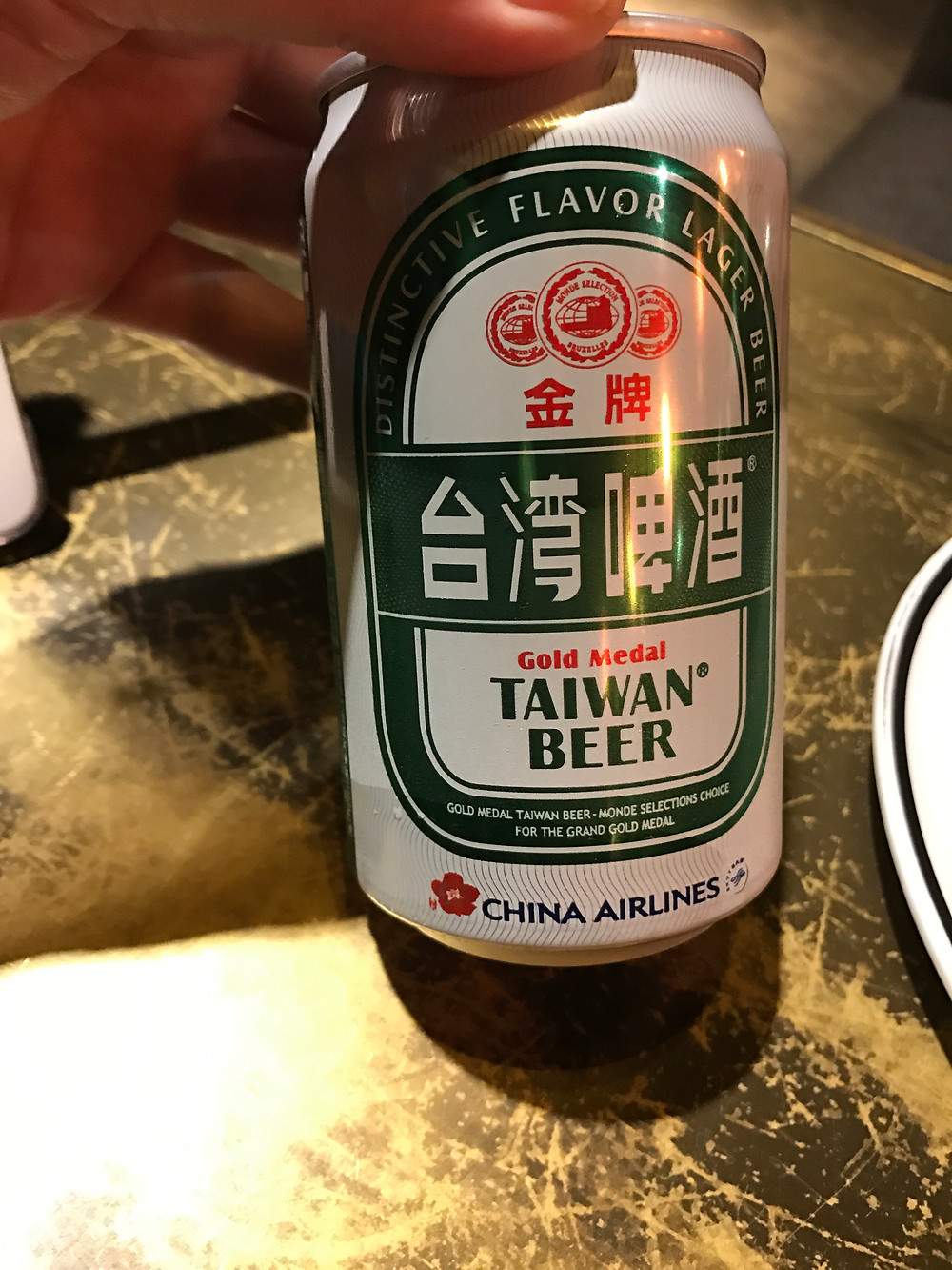 Taiwan beer with China Airline logo