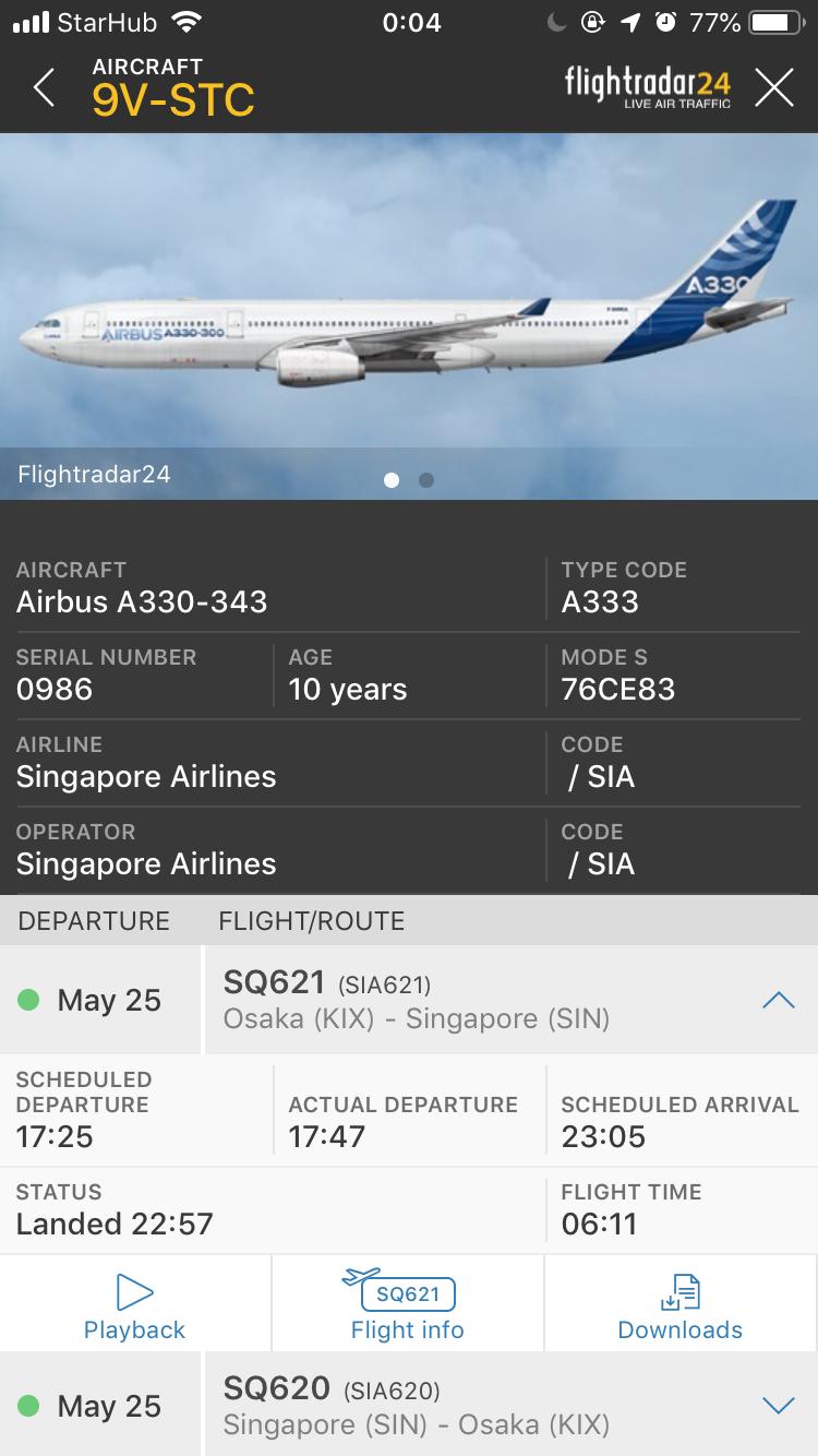 シンガポール航空 関西~シンガポール Flightrader24
