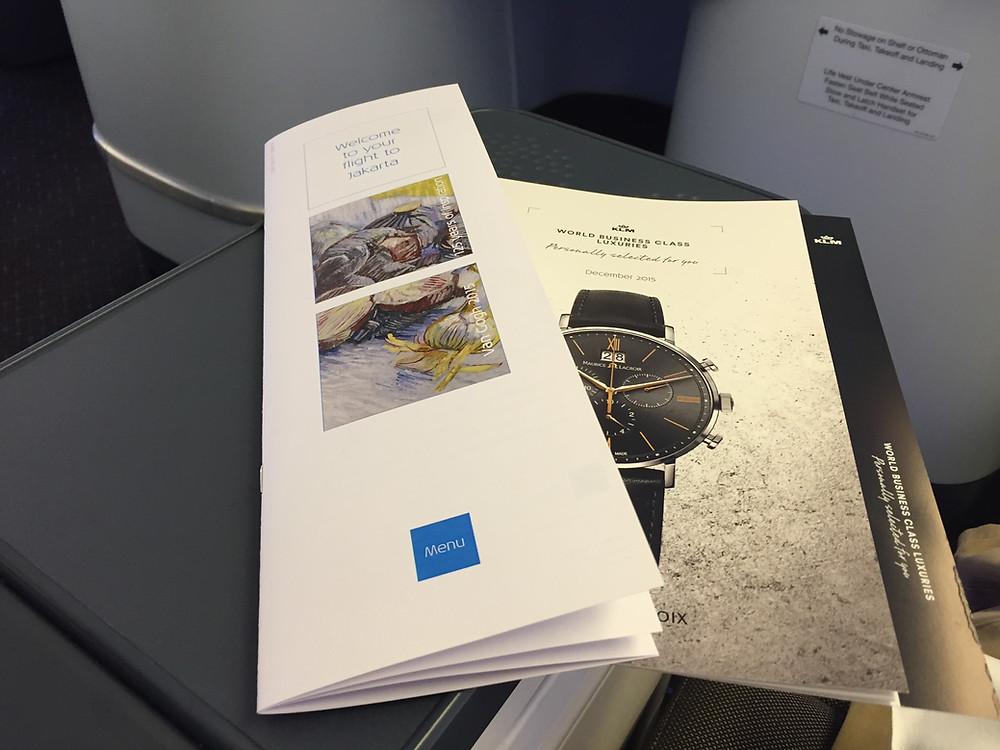 KLM ビジネスクラス メニュー
