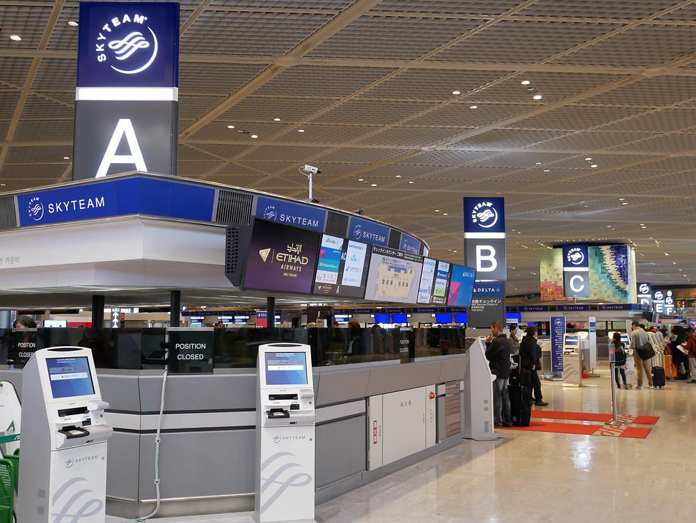 成田空港 第1ターミナル エティハド航空 チェックインカウンター