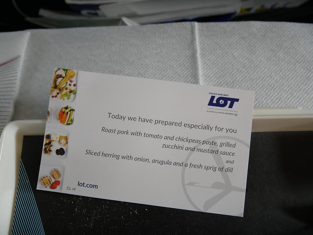 LOTポーランド航空 機内食