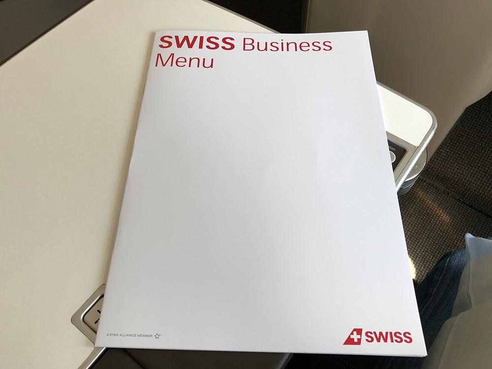 スイスインターナショナルエアラインズ ビジネスクラスメニュー