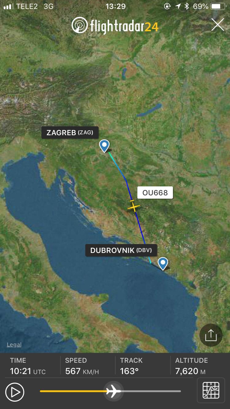 クロアチア航空 DHC8-Q400 FlightRader24