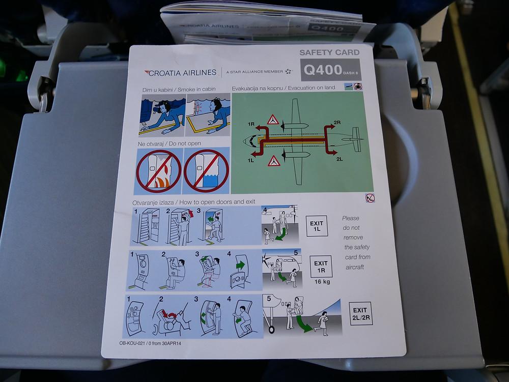 クロアチア航空 DHC8-Q400 安全のしおり