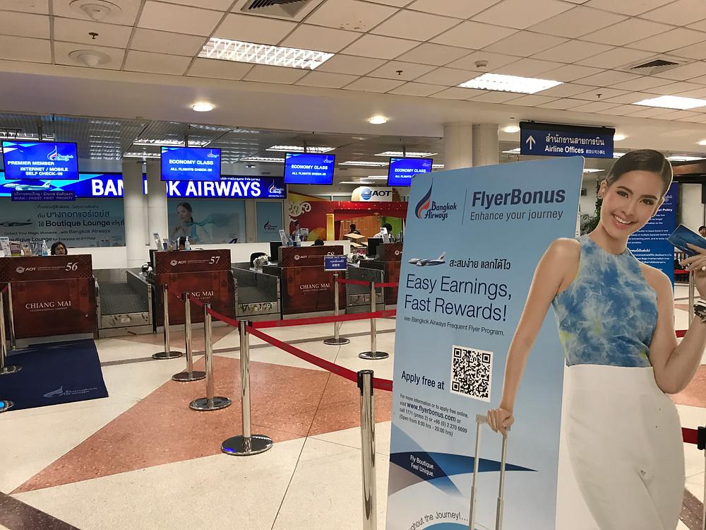 チェンマイ国際空港 バンコクエアウェイズ チェックインカウンター