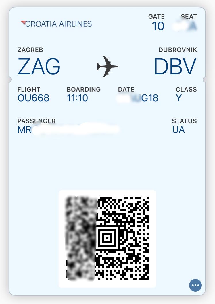 クロアチア航空 オンライン搭乗券