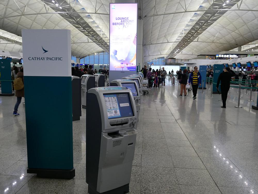 香港国際空 キャセイパシフィック チェックインキオスク