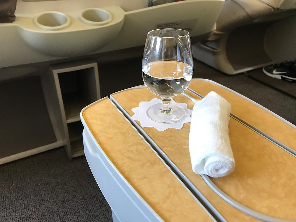 アシアナ航空ビジネスクラス ウェルカムドリンク