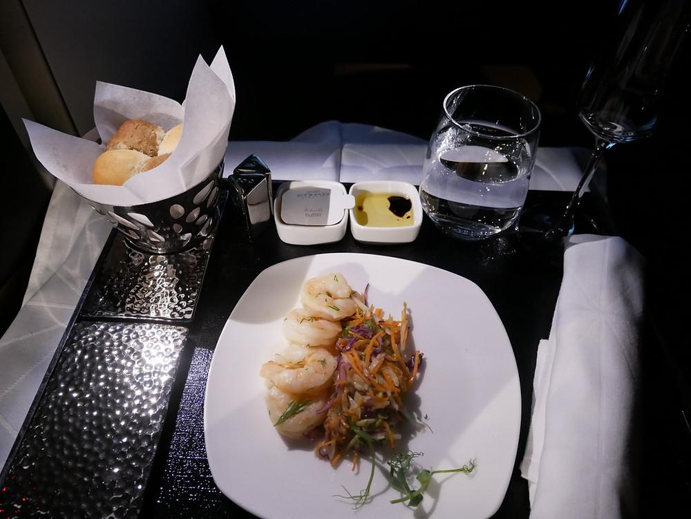 エティハド航空 ビジネスクラス 機内食 前菜