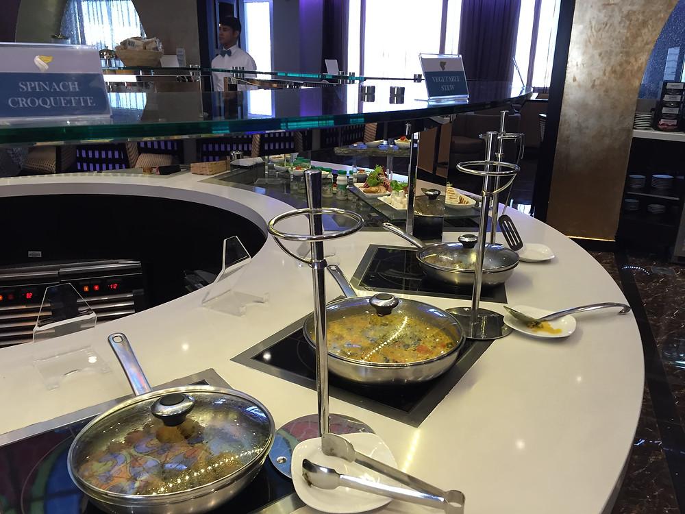 Oman air business class lounge buffet