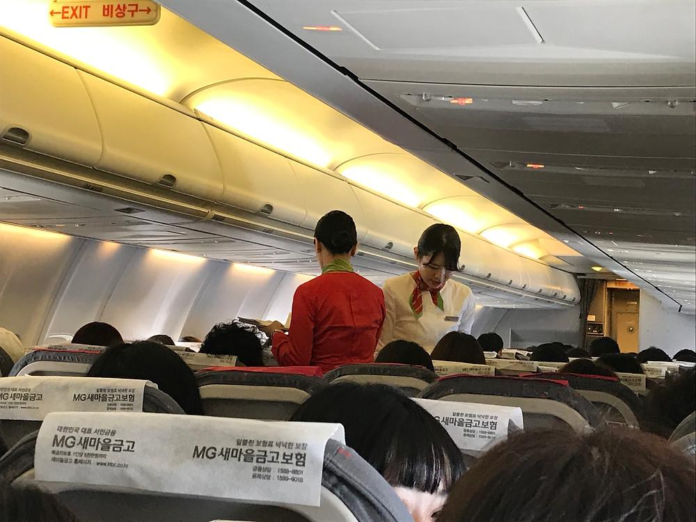 ティーウェイ航空の機内