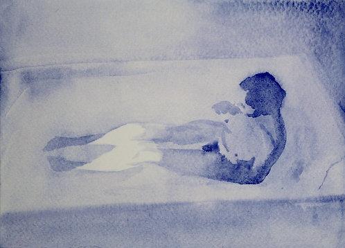 Edith Dormandy, 'Mother in Bath 1', 2018, watercolour on paper, 14x19cm