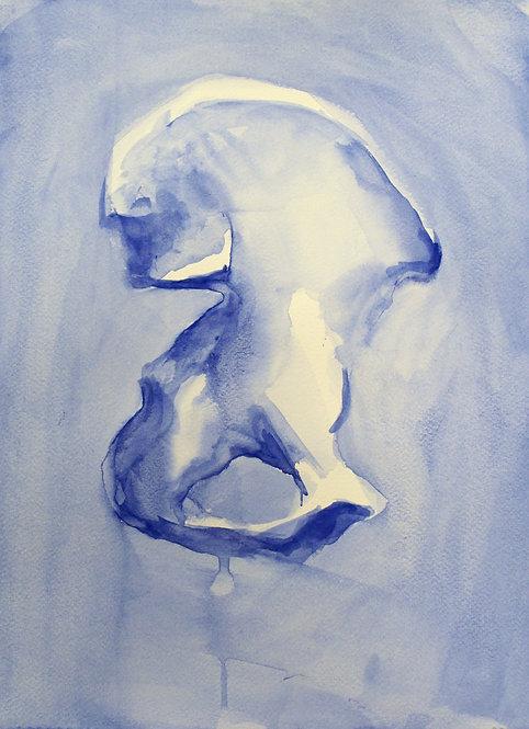 Edith Dormandy, 'Pelvis 2', 2018, watercolour on paper, 38x28cm