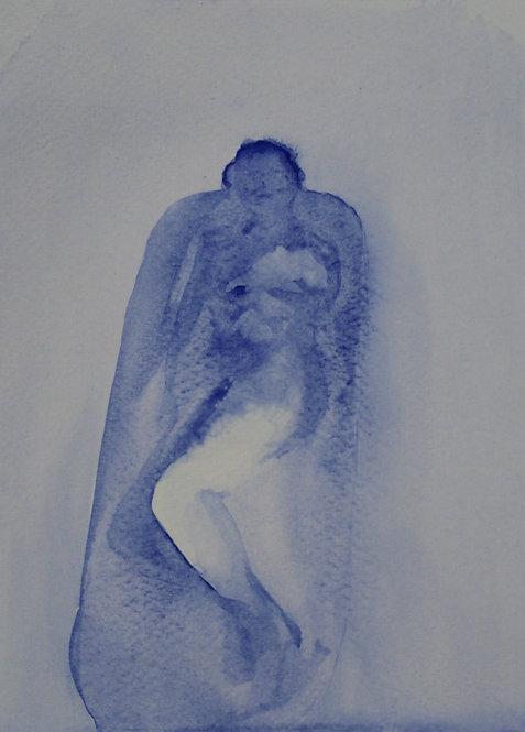 Edith Dormandy, 'Mother in Bath 2', 2018, watercolour on paper, 19x14cm
