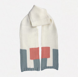 Kid's scarf, B.M. pink, white, grey