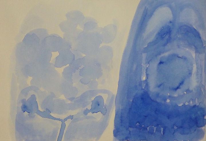 Tusche auf Papier Körper, Röntgenbild, Assoziation, Blau, Zeichnung, Malerei, Körper