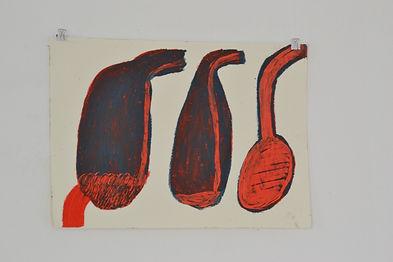 Salzburger, Zeichnung, Stefanie, KRatzbild, PAstell, Körper, Verdauung, Von Innen und Außen, Mensch, Ölpastell