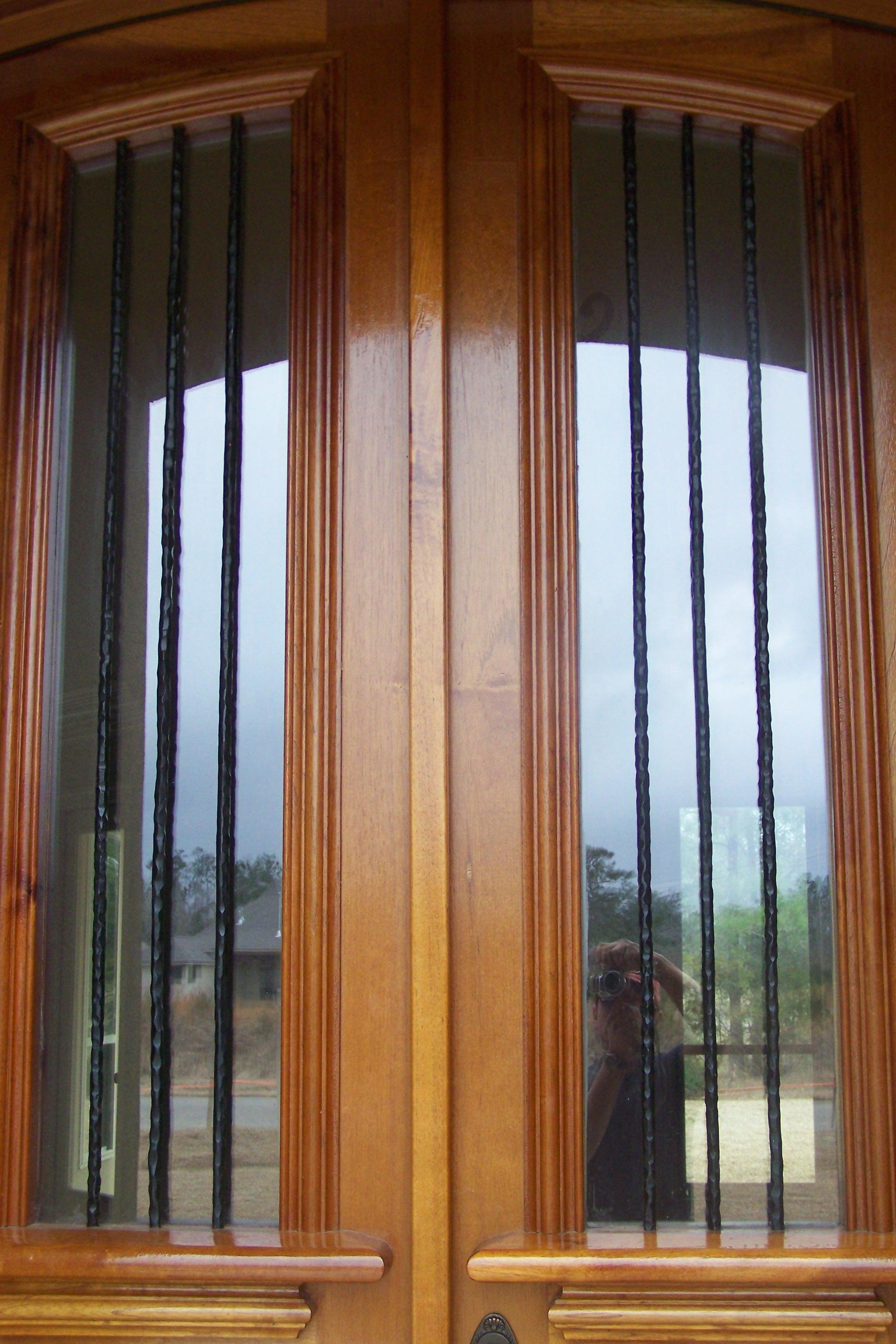 Iron accents for door