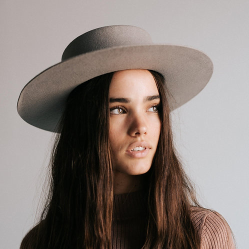 Gray Dahlia Boater Hat