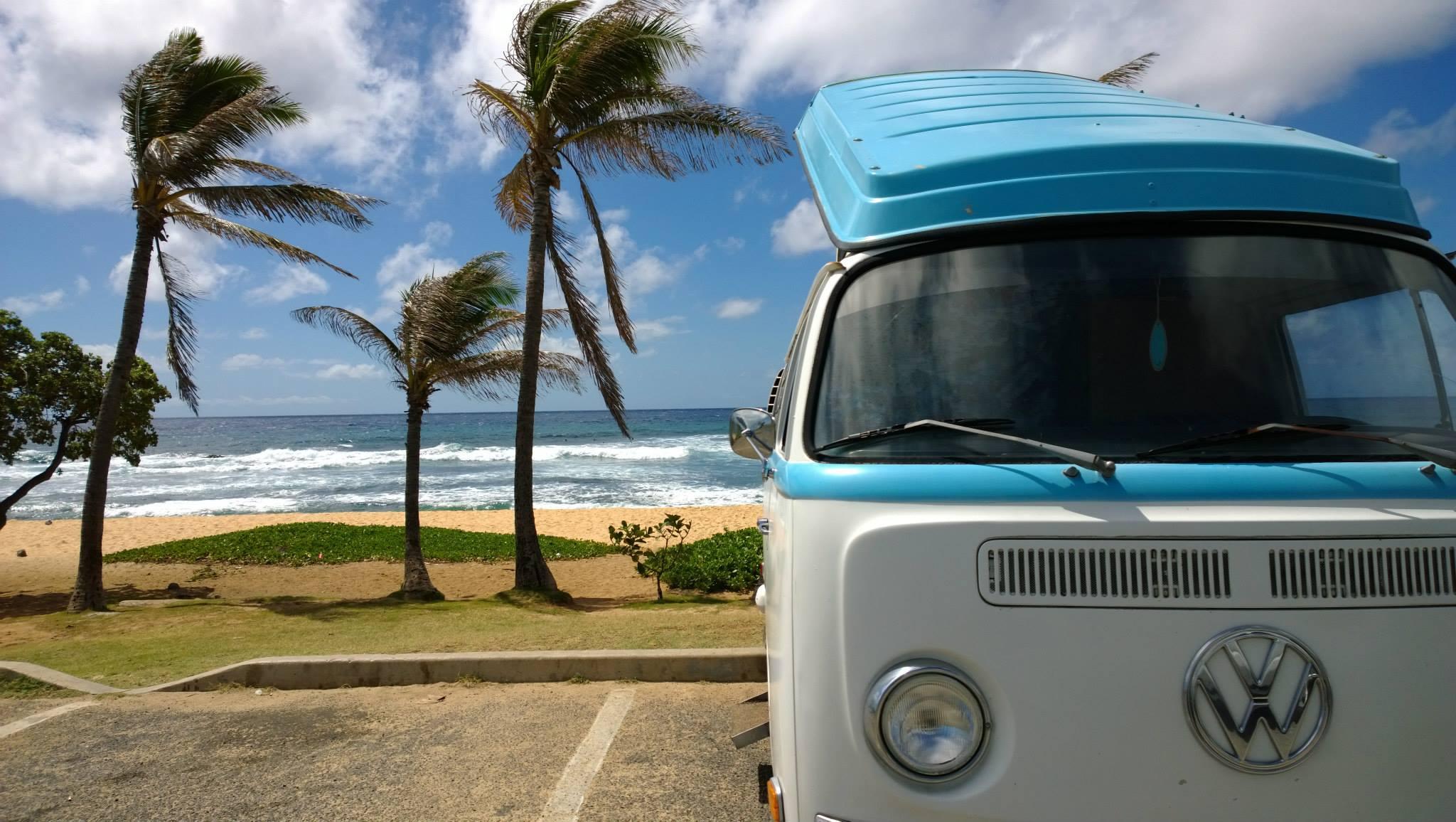 Vintage VW bus parked at Sandy Beach in Oahu
