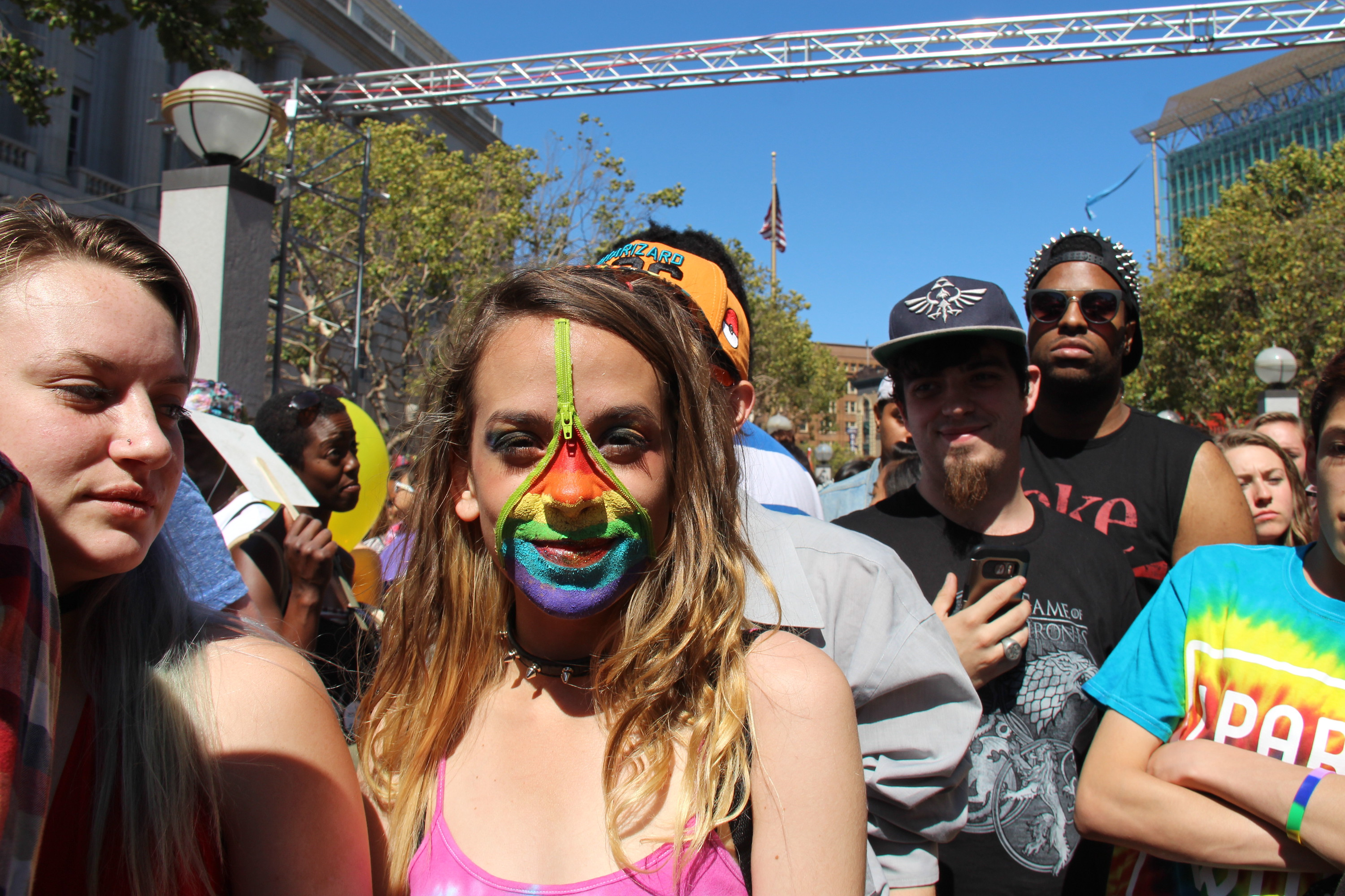 Young woman at gay pride festival in San Francisco, CA