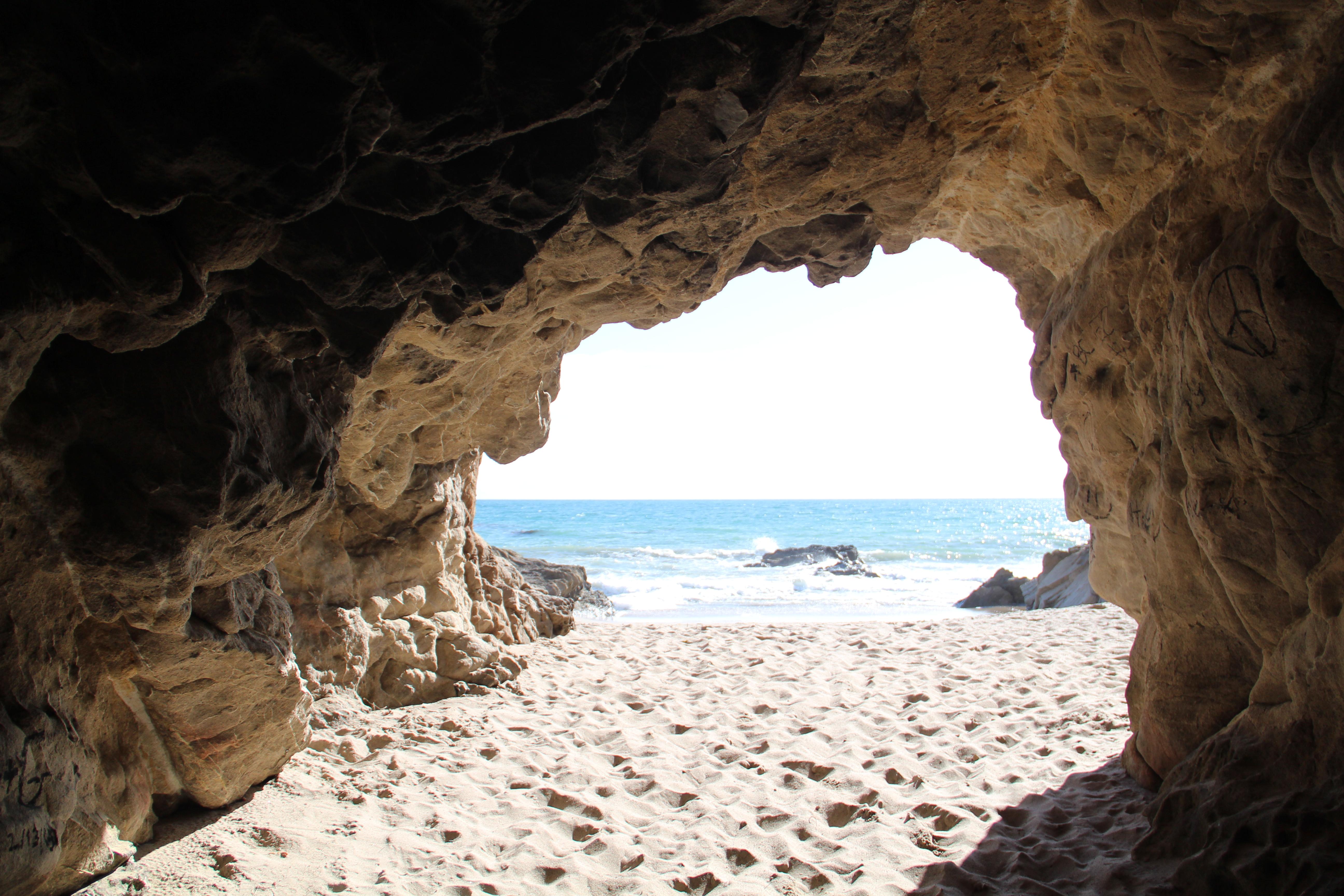 Beach cave at Leo Carillo State Beach on the California Coast
