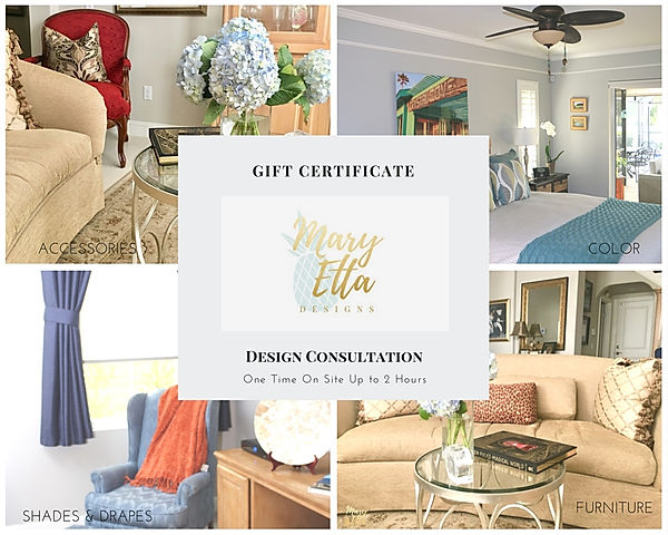 Mary Etta Designs Interior Decorating Gift Certificates