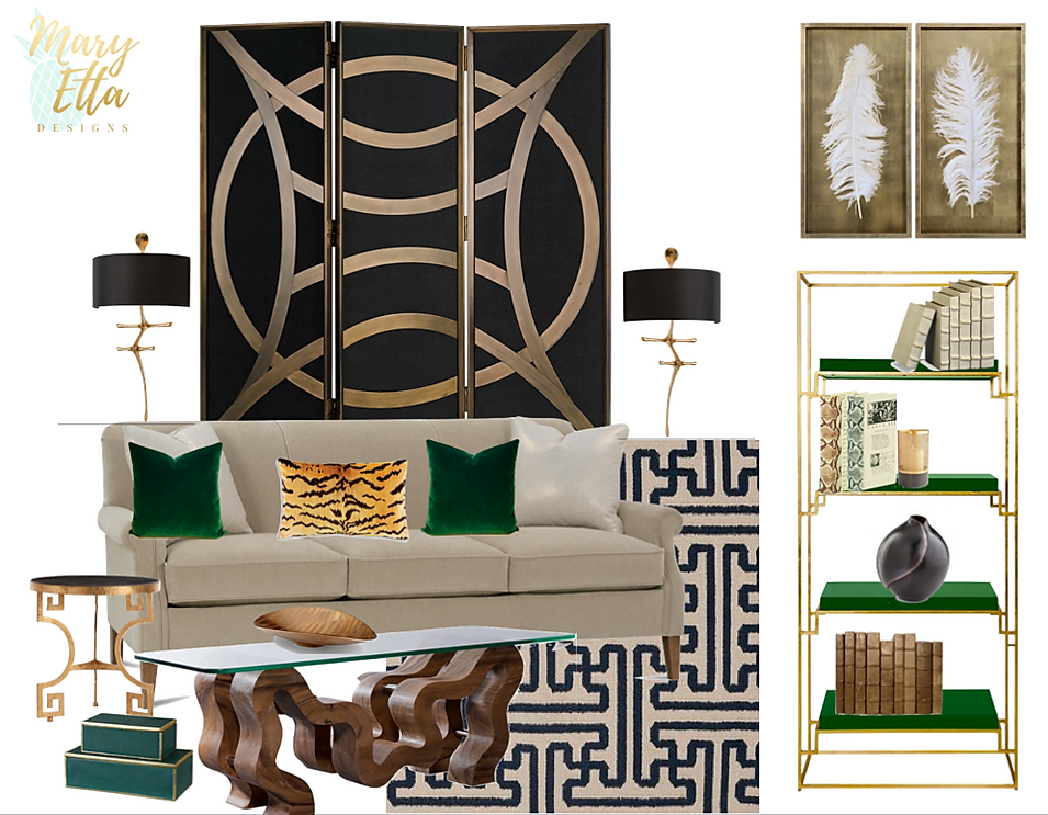 Black and Gold Living Room by Mary Etta Designs