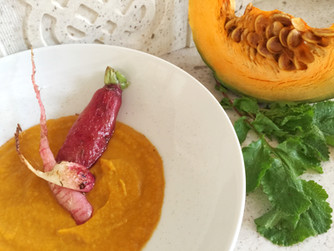 Mantova pumpkin cream with roasted radishes