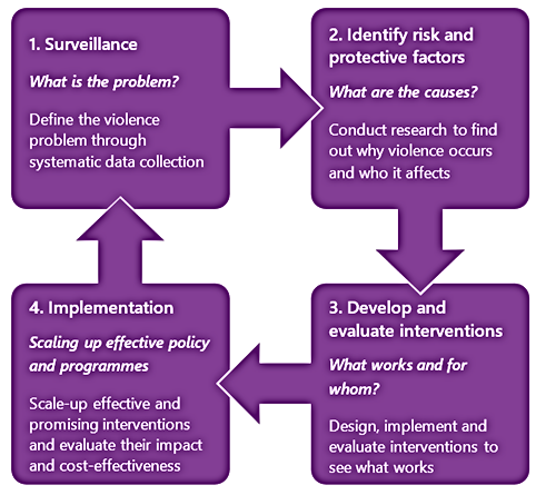 The 4 steps of a public health approach to violence prevention image
